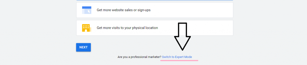 """Google Keyword Planner - """" Switch to expert mode"""""""