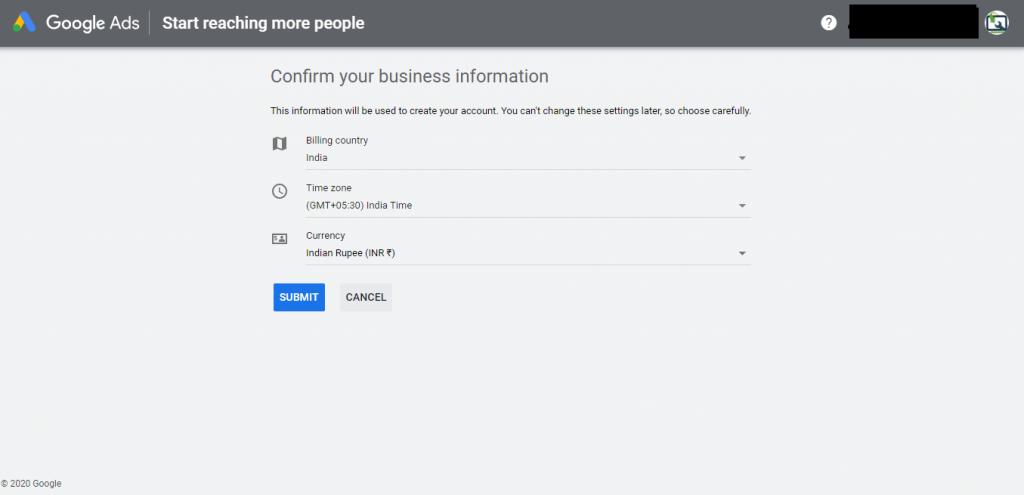"""Google Keyword Planner- """"Enter business information"""""""